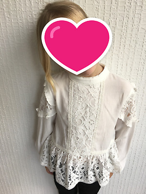 Girls Next Blouse Top White Lace Age 7 Years