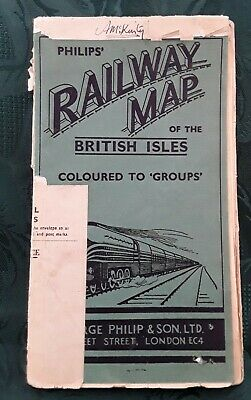 Vintage Philips Railway Map of the British Isles c1940s - Coloured to Groups