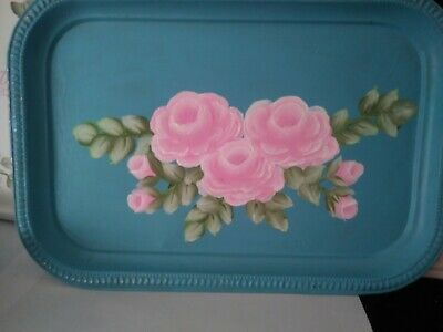 Vintage Shabby Chic  hand painted  pink roses  Blue silver plate Dresser Tray