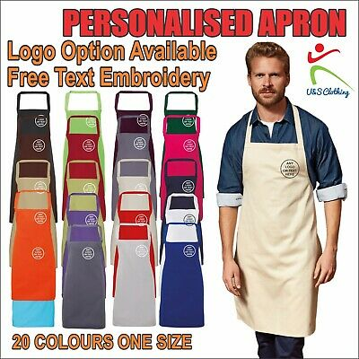 Personalised PREMIER Kitchen Apron Free Text Embroidered Unisex Workwear Tabard