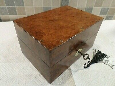 VICTORIAN 19thC BURR WALNUT VENEERED HOMEOPATHIC MEDICINE BOX - GOOD LOCK & KEY