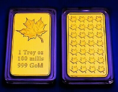Gold Bar Maple Leaf Canada 999 Gold 100 Mills Thick Silver Core