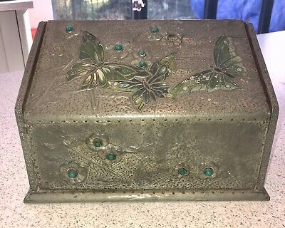 Antique Arts & Crafts c1905 Ruskin Hammered Liberty Tiffany Letters Rack Box