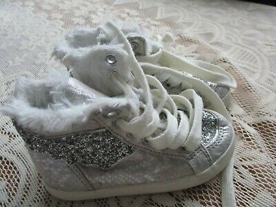 Next Girls Ankle Boots Silver Uk Size 6 Lace Up Faux Fur Lining Good Condition