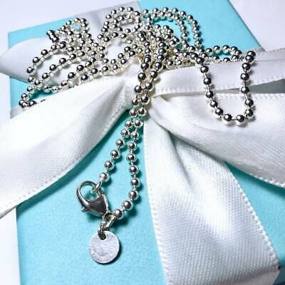 Tiffany Sterling Silver Bead Necklace Chain 34''