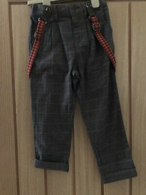 Bnwt Boys Smart Trousers With Braces From Next - Size 3-4 Years