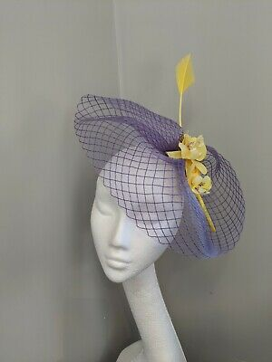 Purple And Yellow Crinoline Fascinator, Headband Or Clip, Races And Weddings