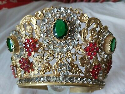 Magnificent Antique Gilded Bronze French Religious Santos crown