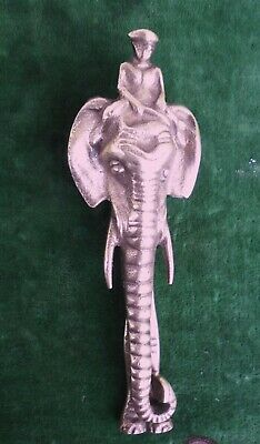 "Antique / Vintage Heavy Solid Brass ""SABU"" RIDING AN ELEPHANT Long Door Knocker"