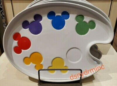 Disney Parks Ink & Paint Colorful Mickey Icon Palette Trinket Plate Dish Tray