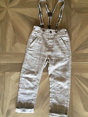 Boys Linen Next Trousers With Braces 3-4 Years