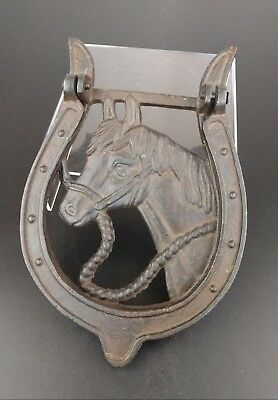 VTG Metal Horse Door Knocker Tapper Heavy Cast Iron Primitive Art Nouveau Cute