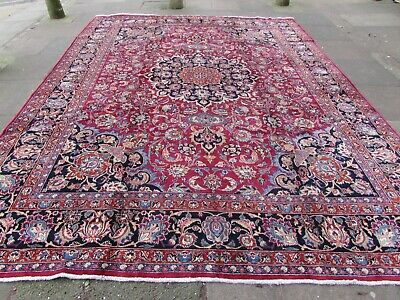 Vintage Hand Made Traditional Rug Oriental Wool Red Blue Large Carpet 397x304cm