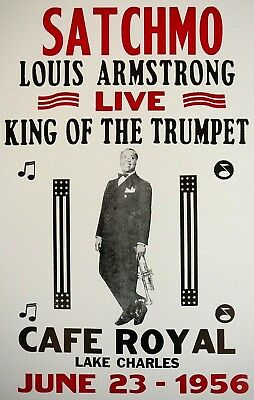 Reprint of vintage concert poster: Louis Armstrong, Lake Charles, 1956