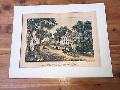 "1972 Vintage Currier /& Ives /""A NEW ENGLAND HOME/"" GORGEOUS Color Print Lithograph"