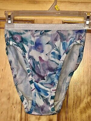 VTG Jockey For Her  Hi-Cut Brief Sissy  Panties 4 Cotton Crotch Watercolor