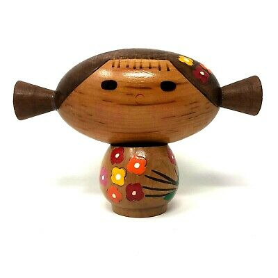 Japanese Kokeshi Wooden Doll Figurine Girl Oblong Head Pigtails Flowers Painted