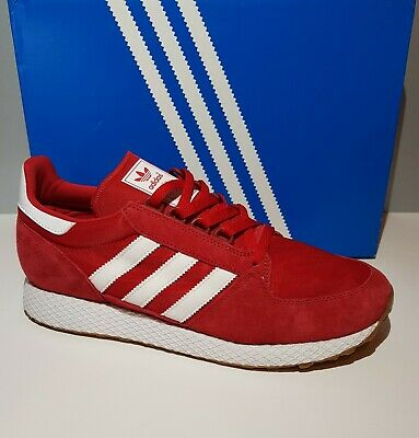 Mens Adidas Forest Grove Red Suede Trainers Size 9.5 UK