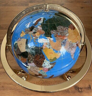 Large Rotating Gemstone Globe on Brass Stand With Compass