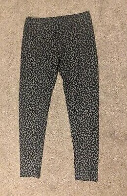 NEXT Girls Thick Grey Animal Print Leggings Trousers - Age 12 Years Height 152cm