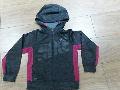 Girls Nike Therma Fit Hooded Top, Aged 6, Grey/Pink Vgc