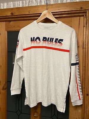 Next Boys Age 11 White With Blue/Red Detailing Long Sleeved Top Brand New