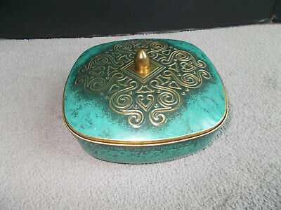 "Vintage Tin Container ""Made In Western Germany"" Embossed Design Teal Turquoise"
