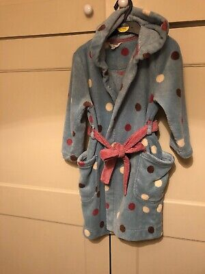 Girl's Joules Blue Polkadot Spotty Dressing Gown Aged 5-6