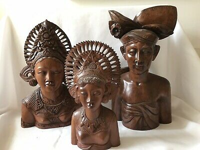 """Vintage Klungkung - Bali - Fine Family Of Hardwood  Busts  14"""" Wood Carvings"""