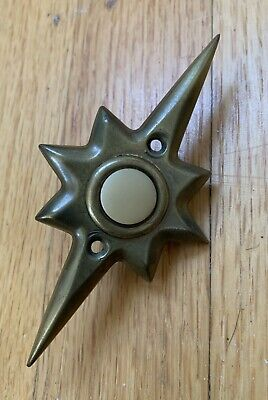 Vtg retro Mid-Century stamped brass starburst sunburst doorbell door bell button