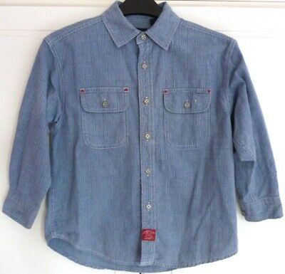 Boys GAP Blue Striped Denim Shirt Size S/P (Age 6-7 years)