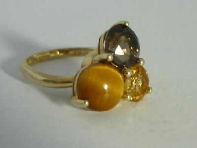 Stunning Unusual Tiger's Eye, Citrine Smoky Quartz 9k Gold Spinning Ring Size K