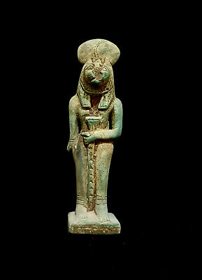 Egyptian Sekhmet Statue Goddess Figurine Ancient Throne sculpture Egypt Sitting