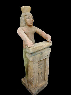Huge Wooden Statue Egyptian Ancient Antique Figurine Priest Antiques Hieroglyph