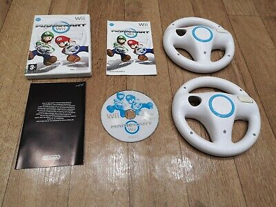 Nintendo Wii Mario Kart game and 2 official steering wheels