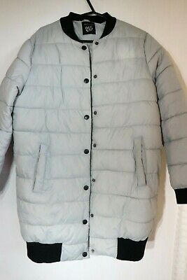 Girls Padded Quilted Long Jacket Grey Front Pockets Age 10-11 Years New Look