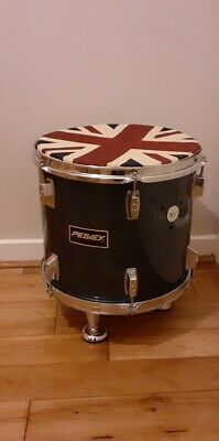 Upcycled Floor Tom Drum Side Table/ Cushioned Foot Stool