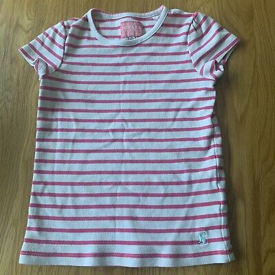 JOULES Girls Tshirt Age 5 Pink And Cream Stripes