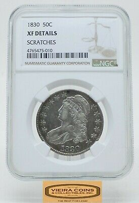 1830 Capped Bust Silver 50C Half Dollar, NGC XF Details, Scratches - #B18060