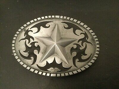 Silver STAR on Silver Oval Black Western Cutout Design New BELT BUCKLE New Metal