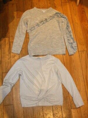 2 x Girls Tops / Jumpers Grey L/sleeve Size 10-11 years Marks & Spencer /Primark