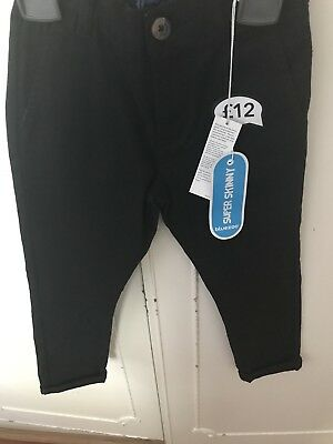 Debenhams Bluezoo Black Boys Chinos Size 6 Super Skinny