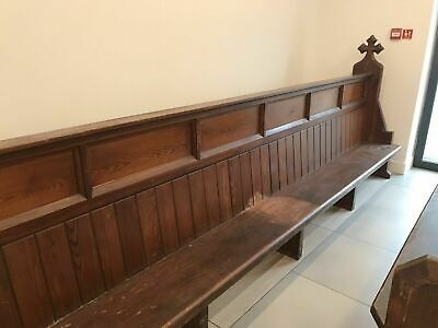 Antique Pitch Pine Church Pew Bench 12 Foot Length Great Condition