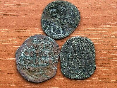 Lot of 3 Ancient Byzantine Medieval Bronze Coins AE Follis