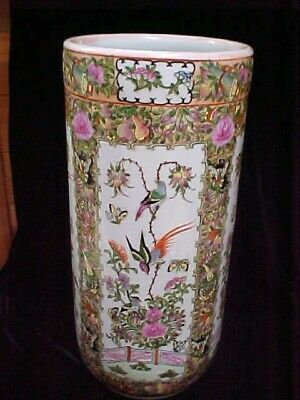 Vintage Signd Chinese Porcelain Famille Rose Medallion Umbrella Stand Pot EXCEL