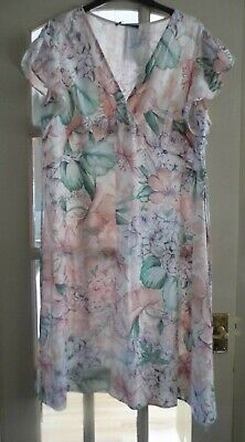 Blush Floral Patterned Dress From Marks & Spencer - Size 16 - Bnwt