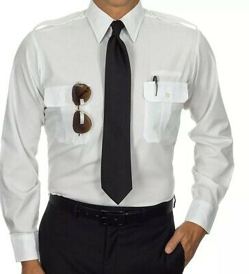 Crew Outfitters Pilot Shirt M Size 14.5 S//S Fitted White Uniform W-Eyelet