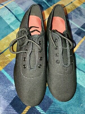 Womens Ladys Oxford Leather Sole Heel Sneaker Ballroom Latin Dance Shoes size 7