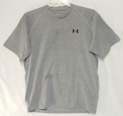 UNDER ARMOUR Men's Gray Polyester Blend Short Sleeve Athletic T-Shirt Size Large