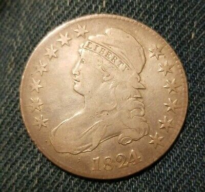 1824/1-P Capped Bust Half Dollar O-101 rare overdate VF Very Fine NO RESERVE